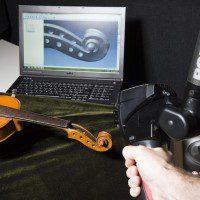 scansione laser di un violino e modellazione 3d del riccio